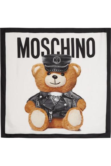 Moschino - Teddy Printed Silk Scarf - White