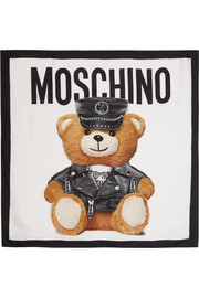 Moschino Teddy printed silk scarf