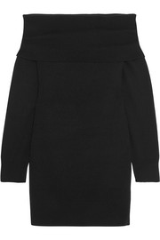 T by Alexander Wang Off-the-shoulder wool and cashmere-blend dress