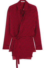 T by Alexander Wang Plaid gauze wrap shirt