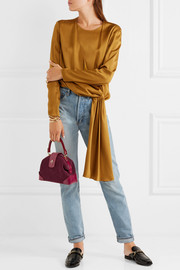 Manu Atelier Demi miniature suede and leather shoulder bag