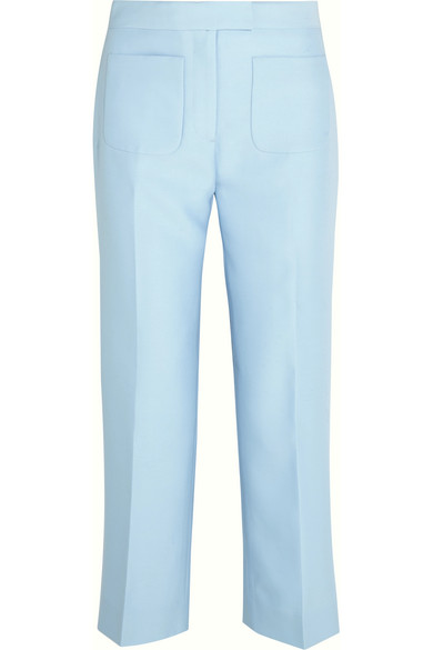 J.Crew - Gretch Cropped Wool And Silk-blend Twill Straight-leg Pants - Sky blue
