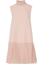 Suki ruffled silk-blend crepe and seersucker mini dress