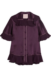 Rosler ruffled silk-satin blouse