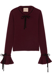 Heanor velvet-trimmed wool and cashmere-blend sweater