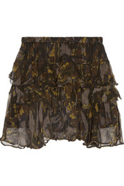 IRO Dicie tiered ruffled camouflage-print crepon mini skirt