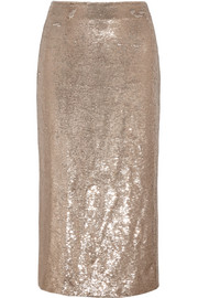 Bump sequined twill midi skirt