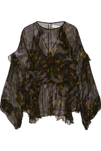 IRO - Lixine Ruffled Printed Chiffon Blouse - Black