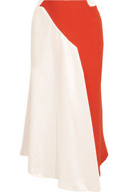 Asymmetric two-tone crepe and satin skirt