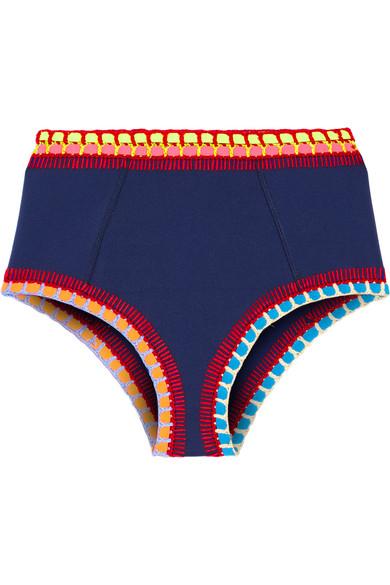 Kiini - Tasmin Crochet-trimmed Bikini Briefs - Navy