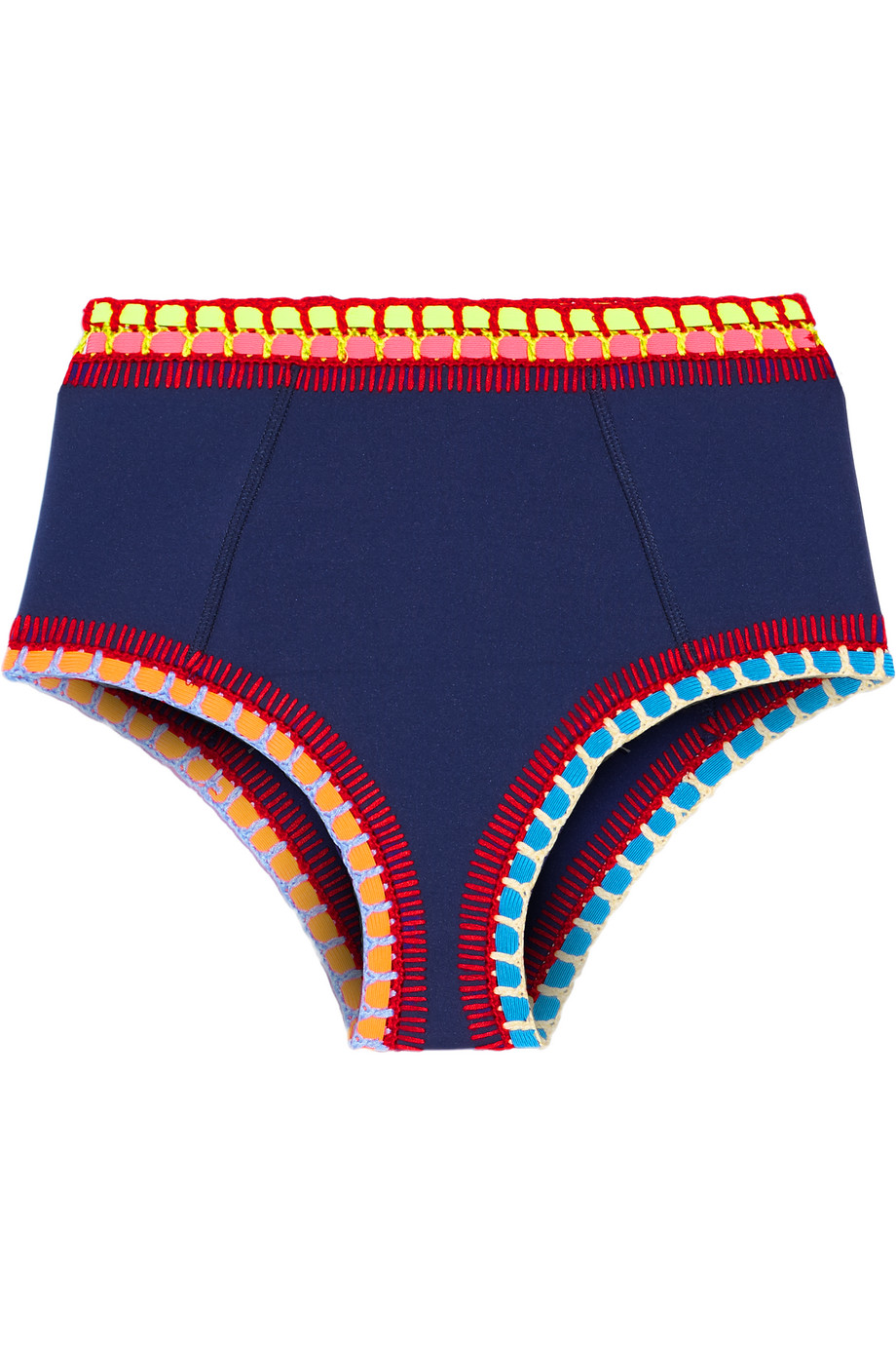 Tasmin Crochet-Trimmed Bikini Briefs, Navy, Women's, Size: L