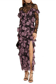 Alessandra Rich Ruffled Chantilly lace gown