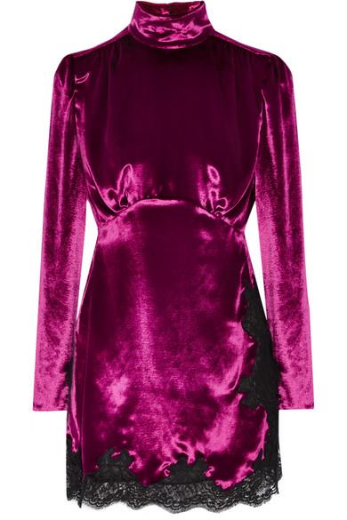Alessandra Rich - Lace-trimmed Velvet Mini Dress - Magenta