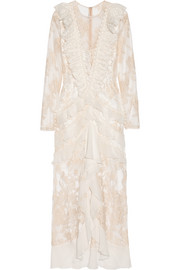 Alessandra Rich Nymph silk chiffon-trimmed Chantilly lace gown