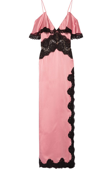 Alessandra Rich. Ruffled lace-trimmed satin gown