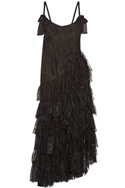 Alessandra Rich Swan asymmetric tiered lace and flocked tulle gown