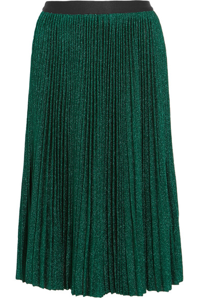 Vanessa Bruno - Flo Plissé Metallic Stretch-knit Skirt - Green