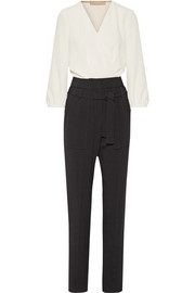 Franco two-tone crepe jumpsuit