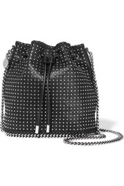 Stella McCartney Falabella tiny studded faux brushed-leather shoulder bag