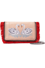 Stella McCartney The Falabella embroidered  faux brushed-leather shoulder bag