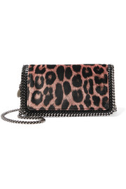Stella McCartney The Falabella leopard-print velvet shoulder bag