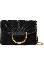 Nina small velvet and faux leather clutch