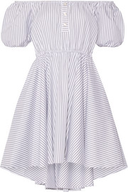 Bardot off-the-shoulder striped cotton mini dress