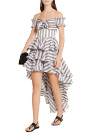 Artemis off-the-shoulder tiered cotton-poplin mini dress