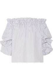Gia off-the-shoulder striped cotton-poplin blouse