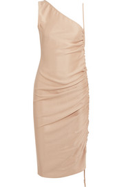 Ruched silk dress