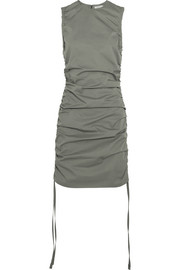 Ruched cotton-gabardine mini dress