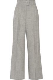 Stretch-cashmere and wool-blend wide-leg pants