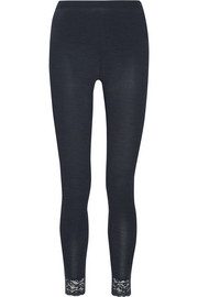 Chiara lace-trimmed wool and silk-blend leggings