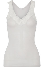 Valencia Leavers lace-trimmed ribbed cotton-jersey tank