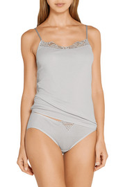 Vittoria lace-trimmed mercerized cotton camisole