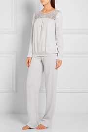 Vittoria lace-trimmed mercerized cotton pajama set