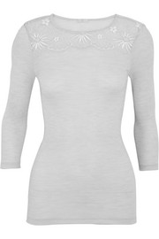 Seraphina Leavers lace-paneled ribbed wool and silk-blend jersey top