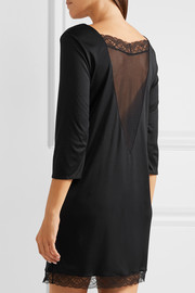 Eleonora lace-paneled modal and silk-blend jersey nightdress