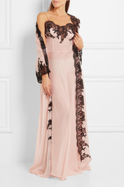 Rosamosario Classica Bellezza Chantilly lace-trimmed silk-georgette robe