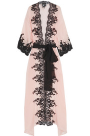 Classica Bellezza Chantilly lace-trimmed silk-georgette robe