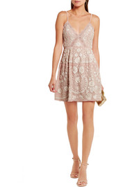 Needle & Thread Crochet-trimmed embellished embroidered crepe mini dress