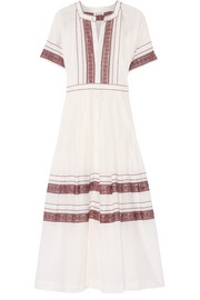Eden embroidered cotton-voile midi dress