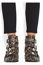 Studded ankle boots in leopard-print leather