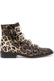 Givenchy Studded ankle boots in leopard-print leather