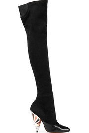 Leather-paneled suede over-the-knee boots