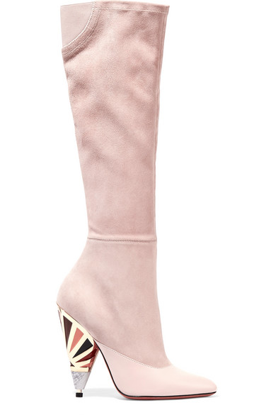 Givenchy - Leather-paneled Suede Knee Boots - Pastel pink