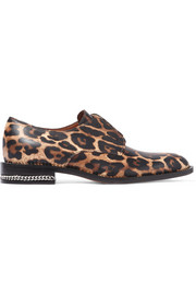 Chain-embellished brogues in leopard-print leather