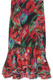 Ruffled printed silk-chiffon skirt
