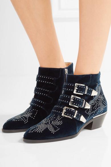 chlo susanna studded velvet ankle boots net a porter com. Black Bedroom Furniture Sets. Home Design Ideas