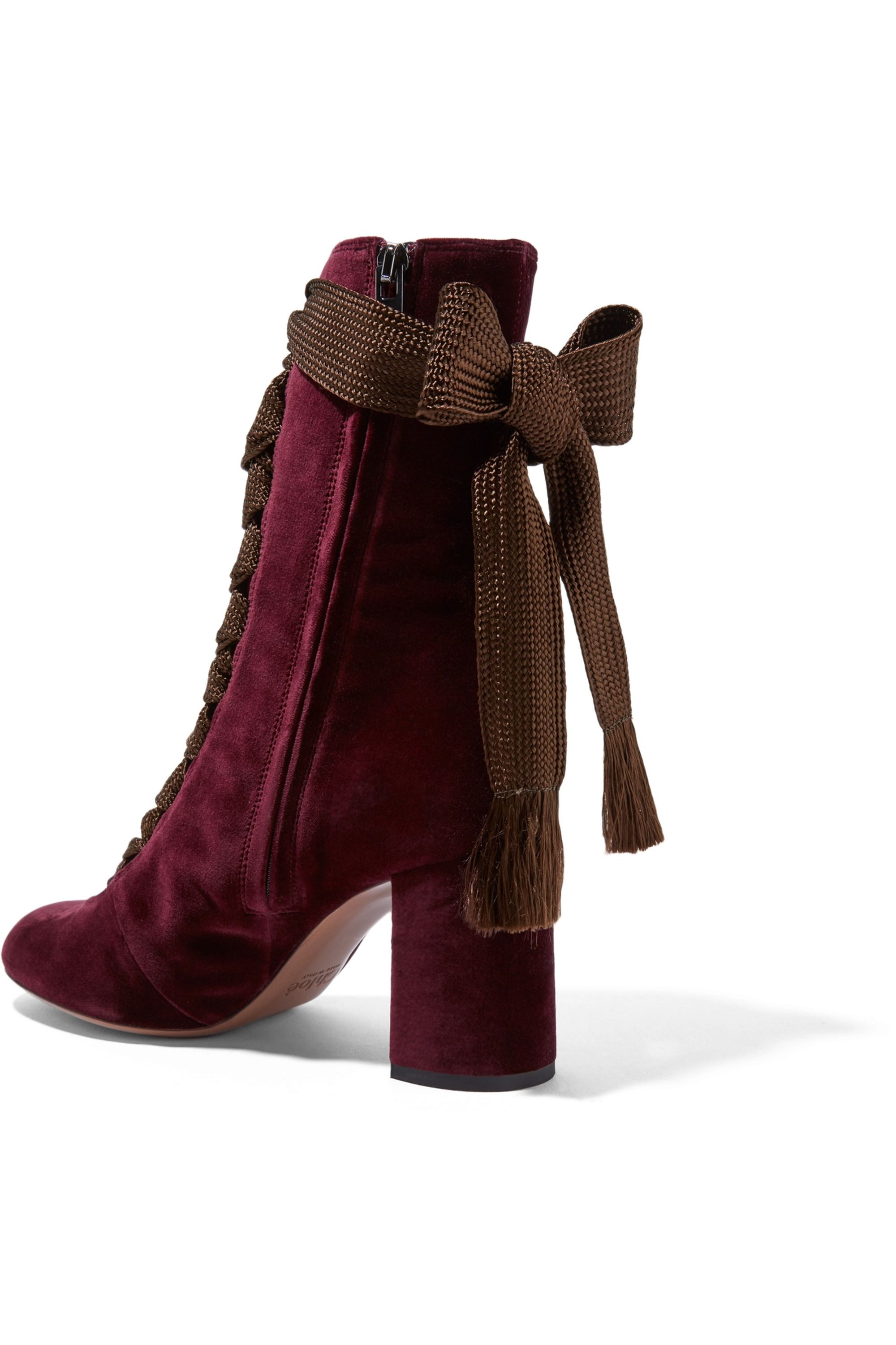 Chloé Lace-up velvet ankle boots